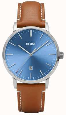 CLUSE Aravis | Light Brown Leather Strap | Blue Dial CW0101501005