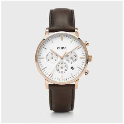 CLUSE Aravis Chrono | Brown Leather Strap | White Dial CW0101502002