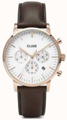CLUSE | Aravis Chrono | Brown Leather Strap | White Dial | CW0101502002