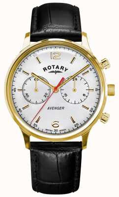 Rotary Men's Avenger | Black Leather Strap | Gold Case | White Dial GS05206/70