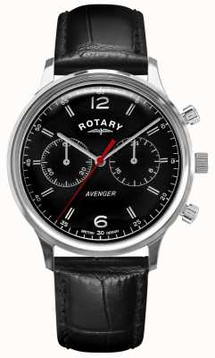 Rotary Men's Avenger | Black Leather Strap | Black Dial | GS05203/04