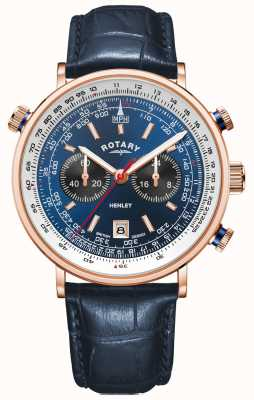 Rotary Men's Henley | Rose Gold PVD Case | Blue Leather |Blue Dial GS05237/05