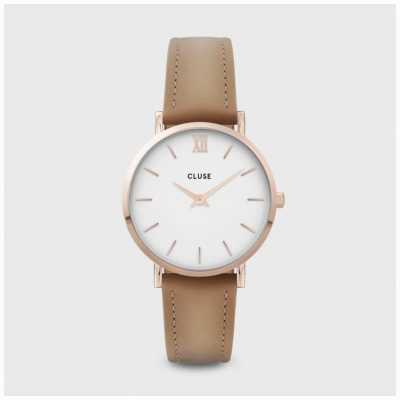 CLUSE Minuit | White Dial | Hazelnut Leather Strap CW0101203014