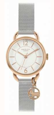 Radley | Women's Silver Mesh Bracelet | White Dial | Dog Charm RY4527