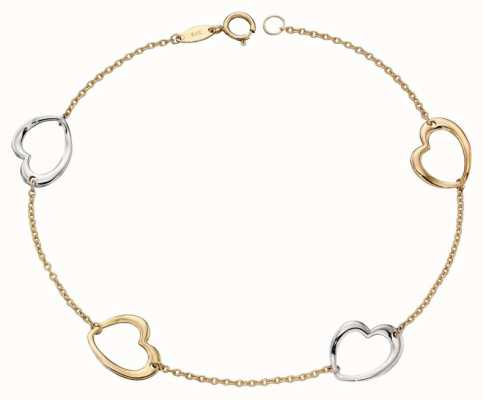 Elements Gold 9ct Yellow Gold White Gold Open Heart Link Bracelet GB455