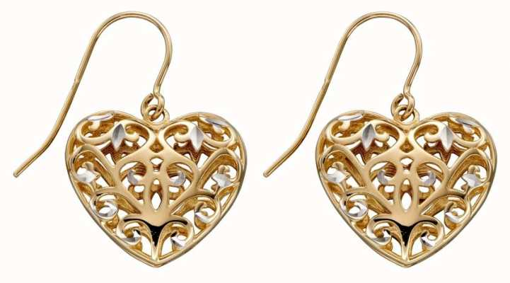 Elements Gold 9ct Yellow Gold White Gold Detail Filigree Heart Drop Earrings GE2315