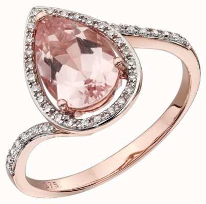 Elements Gold 9ct R/g Large Morganite Diamond Ring Size EU 54 (UK N ) GR563P 54