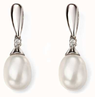 Elements Gold 9k White Gold  Diamond Pearl Drop Earrings GE2075W