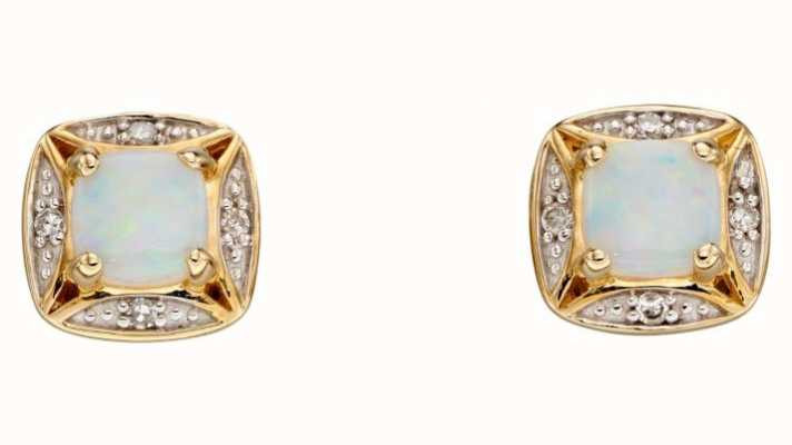 Elements Gold 9ct Yellow Gold Square Diamond And Opal Studs GE2317W