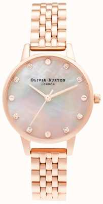 Olivia Burton | Midi MOP Dial With Screw Detail | Rose Gold Bracelet | OB16SE10