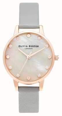 Olivia Burton | Midi MOP Dial With Screw Detail | Grey & Rose Gold | OB16SE12
