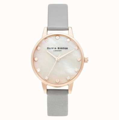 Olivia Burton Midi MOP Dial With Screw Detail Grey & Rose Gold OB16SE12