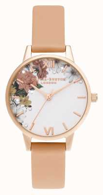 Olivia Burton Midi Coral & Rose Gold Shimmery White Dial OB16BF30