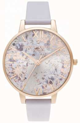 Olivia Burton Big Dial Parma Violet & Pale Rose Gold Abstract Floral OB16VM45