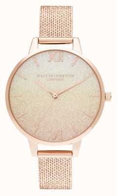 Olivia Burton Sunset Ombre Glitter Demi Dial Rose Gold Boucle Mesh OB16US58