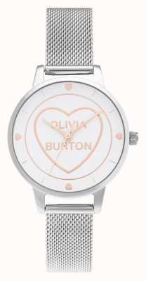 Olivia Burton Sweet Heart Midi Silver Mesh White Dial OB16CD02