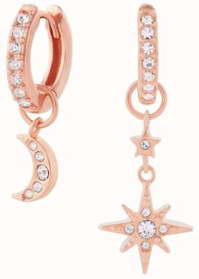 Olivia Burton Celestial Moon & North Star Huggie Hoops Rose Gold OBJCLE40