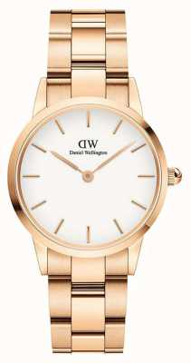 Daniel Wellington Iconic Link 36mm Rose Gold PVD Bracelet White Dial DW00100209