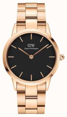 Daniel Wellington Iconic Link 36mm Rose Gold PVD Bracelet Black Dial DW00100210