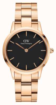 Daniel Wellington Iconic Link 32mm Rose Gold PVD Bracelet Black Dial DW00100212