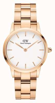 Daniel Wellington Iconic Link 28mm Rose Gold PVD Bracelet White Dial DW00100213