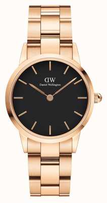 Daniel Wellington Iconic Link 28mm Rose Gold PVD Bracelet Black Dial DW00100214