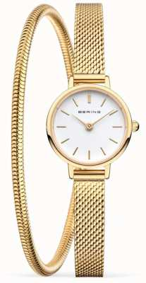 Bering Mothers Day Gift Set | Gold Mesh Watch And Bracelet 11022-334