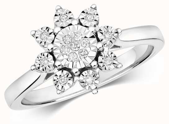 Treasure House 9ct White Gold Illusion Diamond Flower Cluster Ring Size M RD596W/M