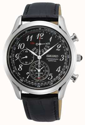 Seiko Conceptual Gents Quartz | Black Leather Strap | Black Dial SPC255P1