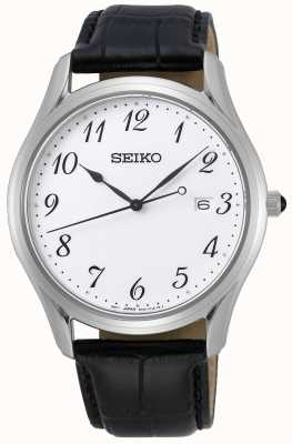 Seiko | Conceptual Gents Quartz | Black Leather Strap | White Dial SUR303P1