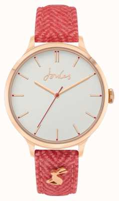 Joules Women's | Red Fabric/Leather Strap | Off White Dial JSL014CRG