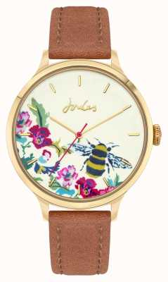 Joules Women's | Brown Leather Strap | Floral Bee Dial JSL030TG
