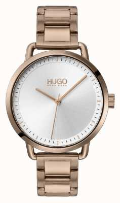 HUGO #MELLOW | Beige Gold Plated Steel Bracelet | Silver Dial | 1540056