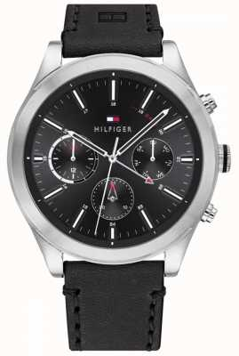 Tommy Hilfiger | Men's Ashton | Black Leather Strap | Black Dial | 1791740