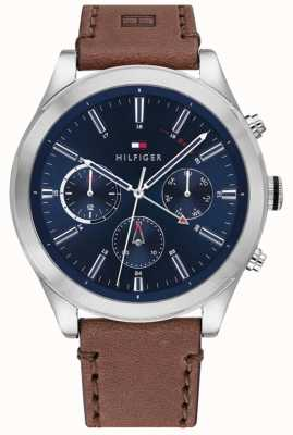 Tommy Hilfiger Ashton | Brown Leather Strap | Blue Dial | 1791741