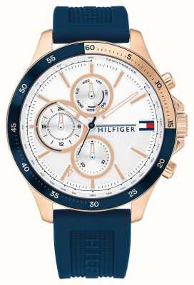 Tommy Hilfiger | Men's Bank | Blue Silicone Strap | White Dial 1791778