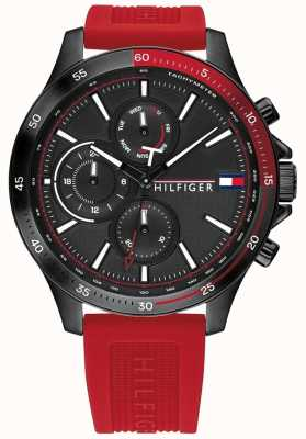 Tommy Hilfiger | Men's Bank | Red Silicone Strap | Black Dial | 1791722