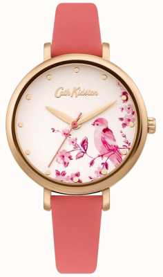 Cath Kidston Women's Pink Leather Strap | Silver Floral Bird Dial CKL099PRG