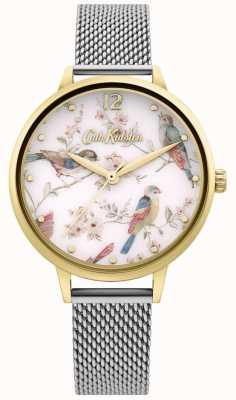 Cath Kidston | Women's Floral Bird Print Dial | Silver Mesh Bracelet CKL095GSM