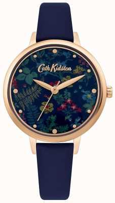 Cath Kidston Women's Floral Print Dial   Navy Blue Leather Strap CKL096URG