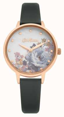 Cath Kidston | Women's Grey Leather Strap | Mother Of Pearl Printed Dial CKL087E