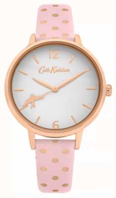 Cath Kidston PINK POLKA DOT LEATHER STRAP | WHITE DIAL | CKL088P