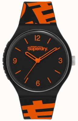Superdry BLACK/ORANGE SILICONE STRAP | MATTE BLACK DIAL | SYG294BO