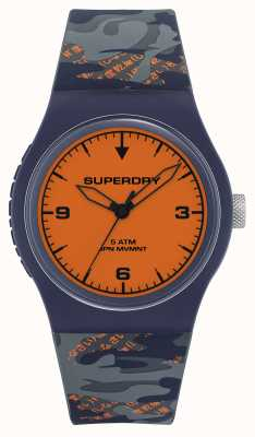 Superdry ORANGE DIAL | NAVY/ORANGE SILICONE STRAP | SYG296UO