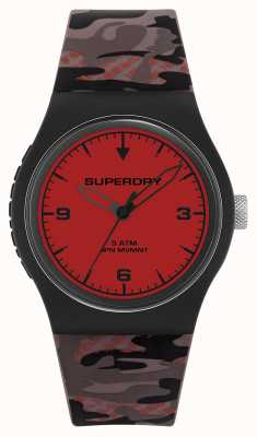 Superdry Unisex | Red Dial | Camouflage Rubber Strap SYG296BR