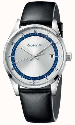 Calvin Klein | Completion | Black Leather Strap | Silver/Blue Dial | KAM211C6