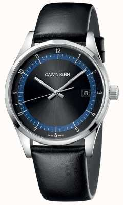 Calvin Klein | Completion | Black Leather Bracelet | Black/Blue Dial | KAM211C1