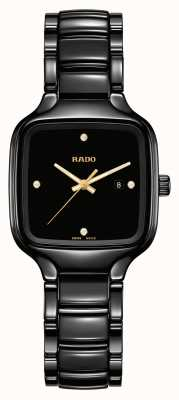 RADO True Square Diamonds | Black Ceramic Bracelet R27080722