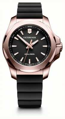 Victorinox Swiss Army INOX Rose Gold Black Dial Black Rubber Strap 241808-EX DISPLAY