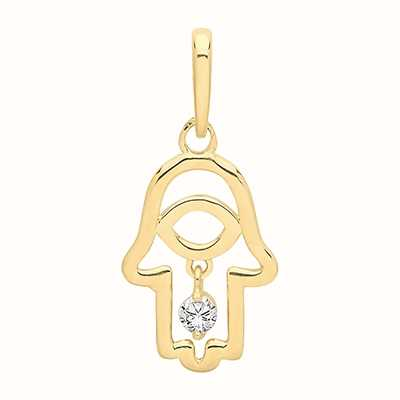 Treasure House 9ct Yellow Gold Cubic Zirconia Hamsa Hand Pendant Only PN1125